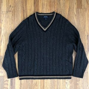 Brooks Brothers lambswool cableknit v-neck sweater